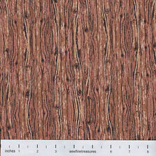 Weathered Look WOOD GRAIN Texture RUST BROWN Fabric By the FQ - 1/4 YD