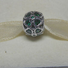 New Authentic Pandora 791496CZN Charm Green CZ Lucky Clover Bead Box Included