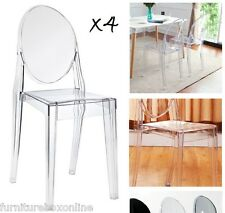 NEW Louis Ghost Acrylic Transparent Clear Philippe Starck Style Dining Chair x4