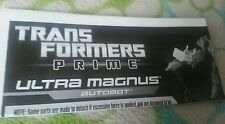 TRANSFORMERS PRIME ULTRA MAGNUS INSTRUCTION BOOKLET ONLY MINT