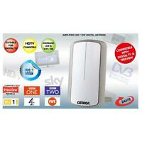 Omega 24470 Indoor TV Antenna Amplified Aerial Booster Digital Freeview - White
