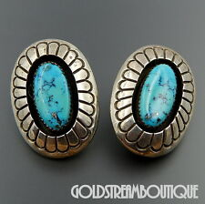 VINTAGE DAN JACKSON NAVAJO 925 SILVER TURQUOISE OVAL SHADOWBOX CLIP EARRINGS