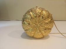 JUDITH LEIBER gold metal floral leafy minaudiere evening bag handbag