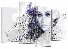 "beautiful artistic face/set of 4 new canvas split prints/  32""x 20"""