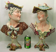 c1890s Antique Majolica Bust Victorian Companion Pair Turn Teplitz Bros Urbach