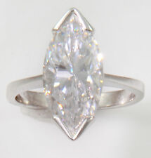 1 ct Marquise Ring Vintage Top Russian CZ Moissanite Simulant SS Size 4
