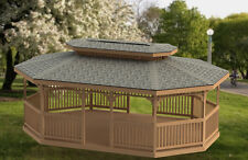16' x 24' Oval Garden Gazebo with Hip Roof Building Plans