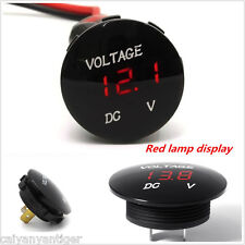 12V-24V Car Motorcycle Red LED DC Digital Display Voltmeter Waterproof Meter