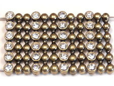 12 - 2 HOLE SLIDER BEADS ANTIQUED BRASS BALL DESIGN WITH CLEAR RHINESTONES, BOHO