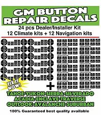 24 PIECE 2007-2013 CHEVROLET AND GMC RADIO AC BUTTON DECALS TAHOE YUKON ACADIA