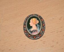 Antique Victorian Hand Painted Under Glass 800 Silver Cameo Pendant Brooch Pin