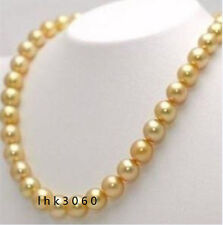 VERY BEAUTIFUL 18 INCH 10-11MM NATURAL SOUTH SEA GOLDEN PEARL NECKLACE         @
