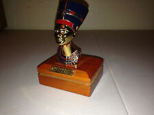 Bust of Nefertiti - GOLD HAND PAINTED METAL Egyptian Statue WOOD PAPERWEIGHT