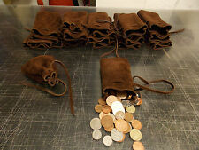 Medieval/Larp/Reenactment Brown Leather Heavy Duty DRAWSTRING MONEY POUCH/ BAG