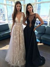 2017 Sexy V Neck A Line Formal Evening Dress Lace Celebrity Wedding Prom Gown