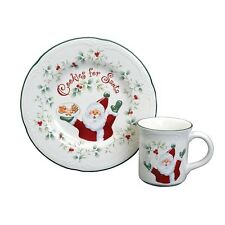 Pfaltzgraff Winterberry Cookies & Milk for Santa Set Christmas Cookie Plate Mug