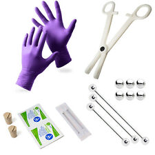 Industrial Piercing Kit - 3 Barbells, Corks, Needles, Gloves, Forceps + Wipes
