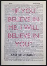 Unicorn Quote Vintage Dictionary Print Page Wall Art Picture Alice In Wonderland
