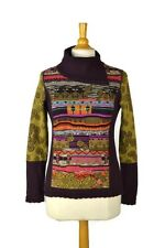 $438 CATHERINE ANDRE Unique Turtleneck Folk Sweater Size S Women MADE IN FRANCE