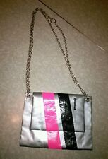 Ducti duct tape small purse, handbag. Black pink and silver.