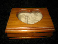 VINTAGE WOOD JEWELRY BOX FROM THE 90'S - W' GLASS HEART CUTOUT - FELT INSIDE