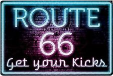 Ruta 66 Neon Sign Get Your Kicks Letrero De Metal 305 Mm X 205 mm (SF) * No Neón! *
