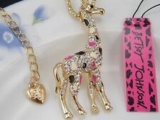 Betsey Johnson Cute fashion inlay Crystal Giraffe Pendant Necklace #A363
