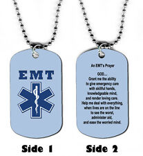 DOG TAG NECKLACE - EMT Emergency Medical Technician's Prayer Jesus God Responder