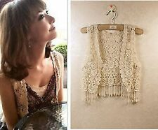 Women Girl Lace Crochet Knit Hippie Bohemian Cami Tops Blouse Cape Vest Shawl