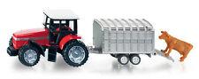 Siku 1640-Deutz Tractor Con Stock Trailer Y Vaca De Plástico Y Metal Modelo