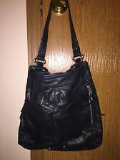 B. MAKOWSKY Authentic BLACK SOFT SUPPLE LEATHER HANDBAG PURSE HOBO SATCHEL
