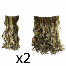 "Hair Extensions Clip In 2 Piece POP Curly Wavy Golden Walnut Fashion 21"" x2"