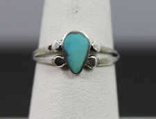 Sterling Silver Pear Shaped Turquoise Ring Size 6.5