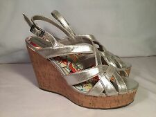 Madden Girl by Steve Madden - NEW - Ennette Wedge Sandals Silver - Size 9