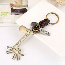 New Pure Manual Weaving Vintage Punk Giraffe Key Chain Leather Metal Keyring