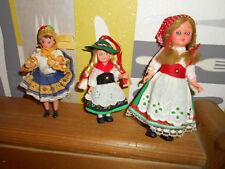 3 kleine alte Trachtenpuppen für die Puppenstube * Schlafaugen