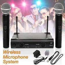 UHF PROFESSIONAL WIRELESS Microphone System Handheld 2 CORDLESS MIC Receiver