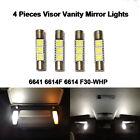 4X White 6614F Fuse Visor Vanity Mirror LED Light Bulbs