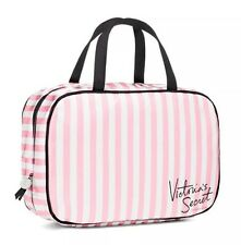 Victoria's Secret Hanging Travel Case Cosmetic Bag Pink White Striped Signature