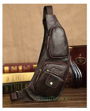 Men's Vintage Genuine Leather Travel Riding Messenger Shoulder Sling Chest Bag