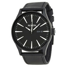 Nixon Sentry Black Dial Black Leather Mens Watch A105005