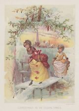 COLONIAL CHRISTMAS SCENE CHURCH LADIES SNOW PINE CONES LITHOGRAPH ANTIQUE PRINT
