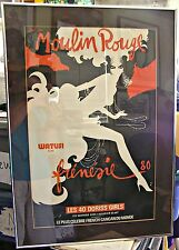 FRENCH CABARET POSTER, MOULIN ROUGE, FRENESIE WATUSI - RENE GRUAU, FRAMED