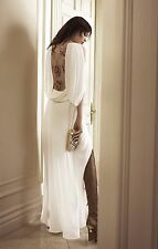 $398 BCBG Rayah White Sequin Lace Draped-Back Gown Wedding Prom Dress 2 XS