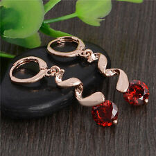 Awesome New 18K Rose Gold Filled Garnet Red CZ Curl Dangle Drop Hoop Earrings