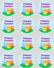 12 Happy Easter Eggs Cupcake Decoration Edible Cake Toppers Pre Cut 40mm