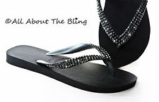 Havaianas flip flops or Cariris wedge using Swarovski Black crystals