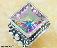 Glamorous Huge Fire Rainbow Topaz 925 Sterling Silver Antique Ring Size 7 F-14