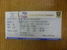 15/08/1998 Ticket: Wimbledon v Tottenham Hotspur (Complete). Any faults are note