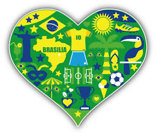 I Love Brazil Heart Car Bumper Sticker Decal 5'' x 4''